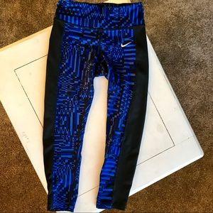 Nike Blue and Black Capri Leggings